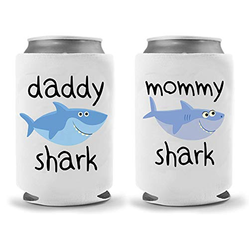 Mommy Daddy Shark Collapsible Neoprene Can Coolies - Insulated Neoprene Can Coolie Huggie Hugger - Funny Party Beer Holders 12oz|16oz (Combo Sharks) (Funny Coozies For Cans)