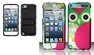 Combo pack MYBAT Black Gummy Armor Stand for APPLE iPod touch (5th generation) And For iPod Touch 5 - Rubberized Design Cover - Owl Design