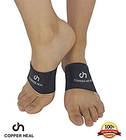 Amazon.com: Arch Copper Compression Support Brace 2 Units by COPPER HEAL - Best Foot Plantar Fasciitis Sleeves Helps Relief Heel Spurs Flat Feet Ankle ...