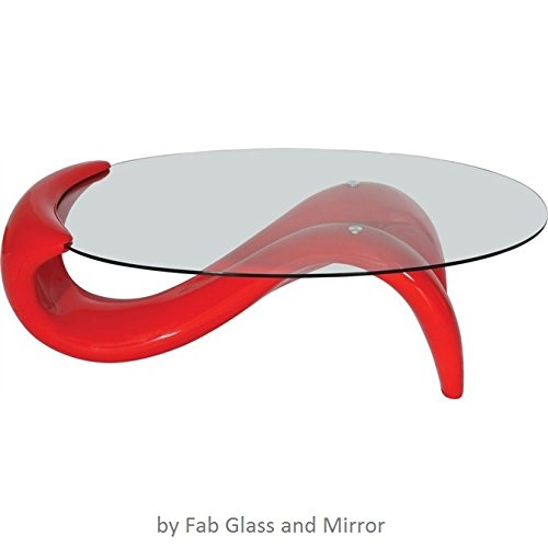 Fab Glass and Mirror Modern Style Mermaid Coffee Table, Red by Fab Glass and Mirror