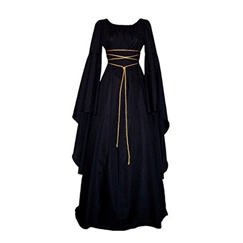 Pevor Womens Renaissance Medieval Irish Gothic Victorian Retro Dress Gown Halloween Costume Cosplay Witch Dress Black -