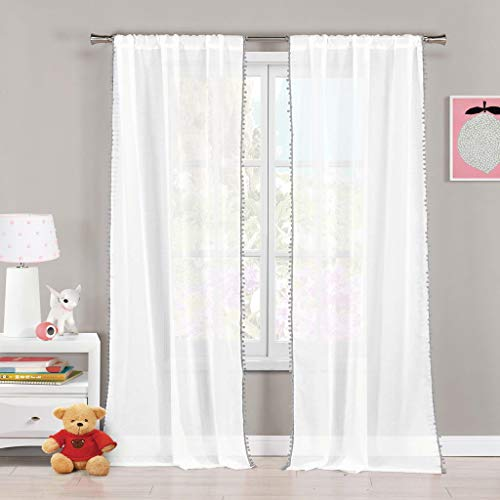 Lala + Bash - Home Fashion PomPom Trim Pole Top Window Curtains for Living Room & Bedroom - Assorted Colors - Set of 2 Panels (38 X 84 Inch - Grey)