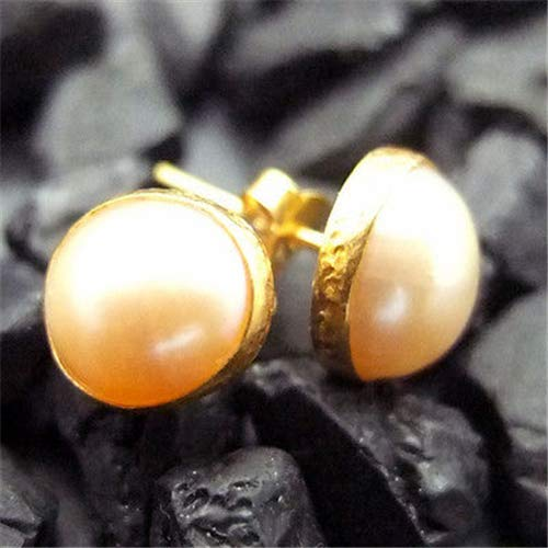 Ancient Design Jewelry Handmade Hammered Designer Pink Pearl Stud Earring 22K Gold Over Sterling Silver ()
