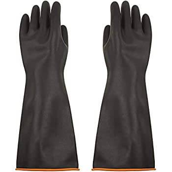 Heavy Duty Industrial Latex Rubber Gloves Acid Resistant Black 40cm Glove