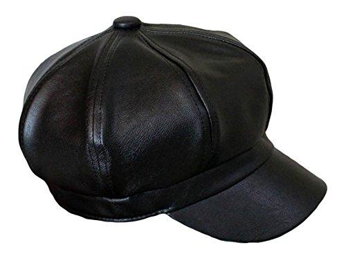Qunson Women's Vintage Pu Leather Newsboy Hat Cap