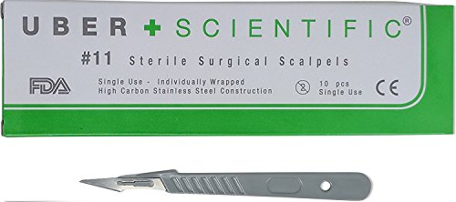UberScientific Disposable Scalpels with #11 High-Carbon Steel Blades, Plastic Handle, Sterile, Individually Foil Wrapped, Box of 10 pcs (10, #11) (Sterile Blade)