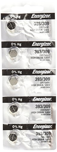 Energizer SR754W 393 Silver Oxide Watch Battery 5 Pack -
