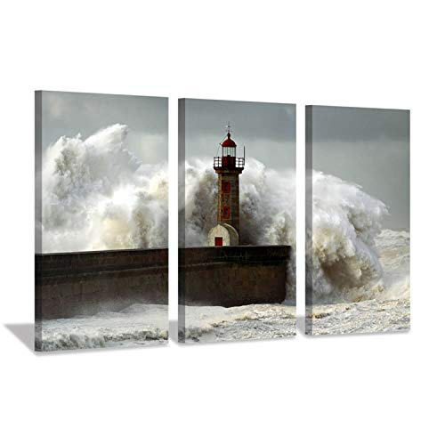 Hardy Gallery Ocean Wave Picture Wall Art: Lighthouse in Storm Wave Artwork Painting Print on Canvas for Bedroom Office (26'' x 16'' x 3 Panels)