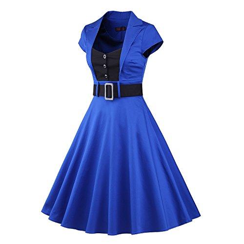 LUOUSE - Vestido - Manga corta - para mujer azul 2Blue-1 44