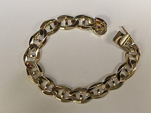 14Kt-Solid-Yellow-Gold-Mens-Mariner-Link-Heavy-Bracelet-13-Mm-8-85-911317