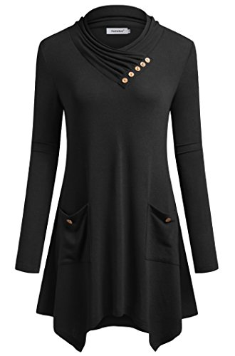 Fasterlow Black Tunic Dresses For Women Long Sleeve Shirt Blouse Medium
