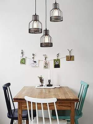 Truelite Industrial Kitchen Pendant 3-Light Rustic Oil-rubbed Bronze Wire Cage Hanging Chandeliers