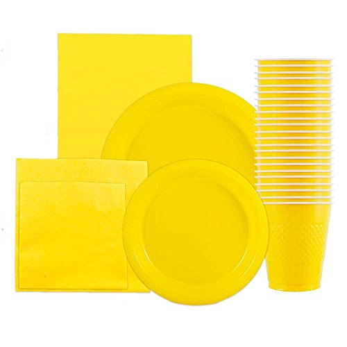 JAM Paper Party Supply Assortment Pack - Yellow - Plates (2 Sizes), Napkins (2 Sizes), Cups (1 pack) & Tablecloth (1 pack) - 6/pack