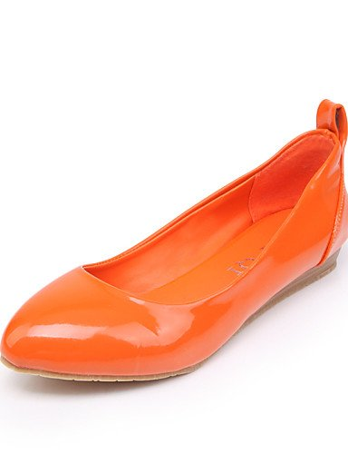 Toe de orange libre zapatos cn38 Beige las 5 eu38 vestido PDX uk5 señaló Pisos azul talón mujeres 5 Naranja casual plano negro al aire us7 05qwUPd