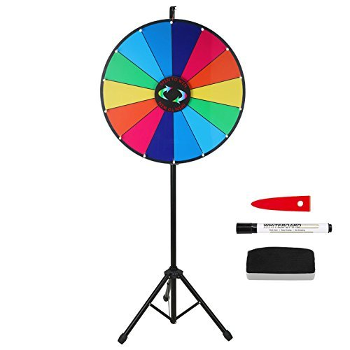 24 Inch Color Prize Wheel 14 Slots Dry Erase Trade Show Fortune Spinning Game Floor Stand by Voilamart