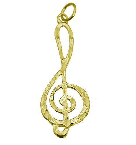 (Prince of Diamonds Inc Music Note Treble Clef 24K Gold Plated Charm musical symbol Jewelry Special new )