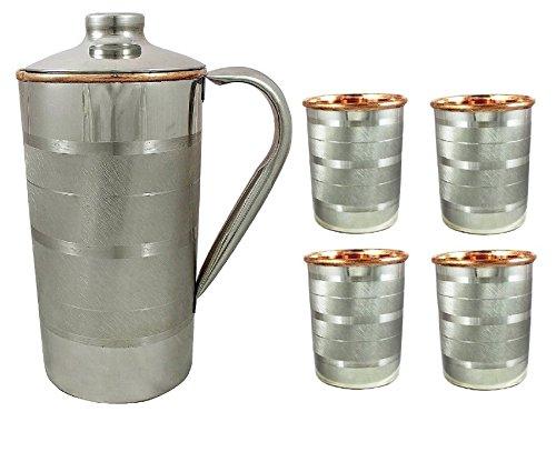 Crafts'man Christmas, Sale, X-mas, Xmas Glass - Set of 4 Pure Copper & Steel Tumblers with Jug Ayurvedic Water Serveware drinkware, Ayurvedic Health Benefits. for Home, Kitchen, Restaurants. ()