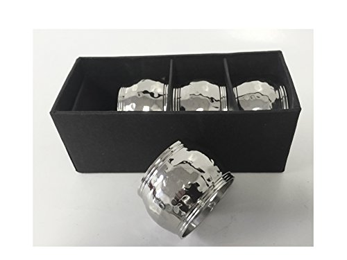 Alef Judaica Napkin Rings - Rounded Silver Colored Hammered Metal Rings with Triple Border - Set of Four
