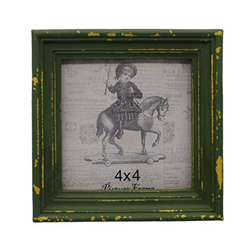4x4 Picture Frame Shabby Chic Picture Frames 4x4 Square, Distressed Moss Green
