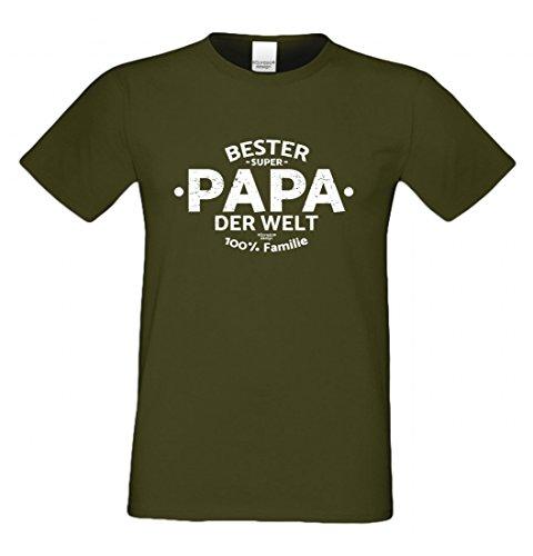 T-Shirt als Geschenk für den Vater - Bester Papa der Welt - Funshirt mit Humor zum Vatertag oder einfach nur so, Größe L Farbe 11-Khaki