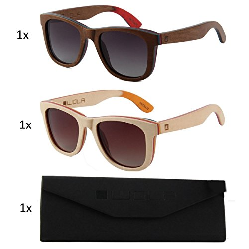 Nogal 1x lentes Set Etui unisex AIR estilo sol polarizadas gafas y hombre 1x madera UV400 1x de cuadradas mujer WOLA Beige RgqUZXg