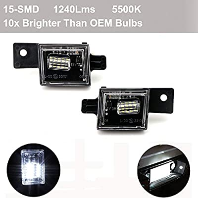 ORASK 2pcs Car Led License Plate Light for Chevy Silverado Colorado GMC Sierra 1500 2500HD 3500HD Canyon Error Free 3W 15 SMD White Rear Number Plate Lamp Assembly Replacement: Automotive
