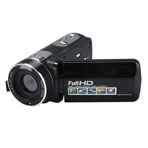 HP95 24 Million Pixels Handheld Digital Camera HD 1080P Infrared Night Vision Video Camcorder LCD screen 2.7-inch TFT 18X Digital Zoom for Student Travel (Black) by HP95-Digital Camera
