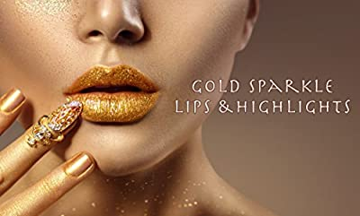 GOLD BODY GLITTER AND LIPSTICK SET | Includes 24K Gold Matte Moisturizing Lipstick and BONUS Gold Eyeliner, Face and Body Glitter | Perfect for Parties, Raves, Festivals