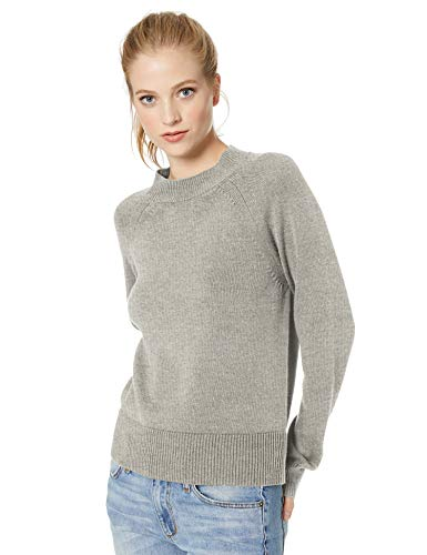 Amazon Brand - Daily Ritual Women's 100% Cotton Mock-Neck Pullover Sweater, Light Heather Grey, Large