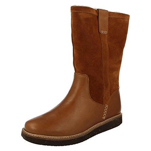Clarks Détente Femme Boots/Bottes Glick Elmfield En Cuir Marron
