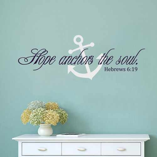 Hebrews 6:19 Vinyl Wall Decal Hope Anchors The Soul Scripture Wall Decal For Bedroom Living Room (Navy blue+White,l)