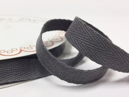 Bertie's Bows 15mm Charcoal Cotton Herringbone Tape/Webbing on a 4m Length (N.B. this is a cut from a roll, presented on a Bertie's Bows card) Bertie's Bows