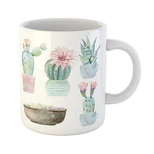 Tarolo 11 Oz Mug Coffee Mug Ceramic Tea Cup Succulent Watercolor Saguaro Cactus It Perfect Bloom Cacti Desert Mexican Large C-handle Family and Office Gift