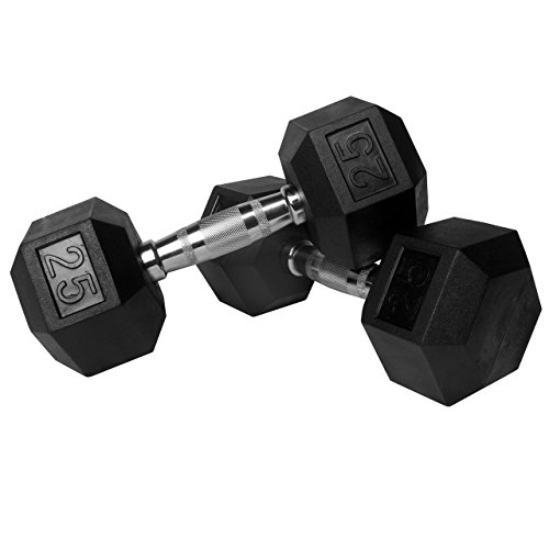 XMark Premium Quality Rubber Coated Hex Dumbbells with Chrome Contoured Handles - 25 lb pair