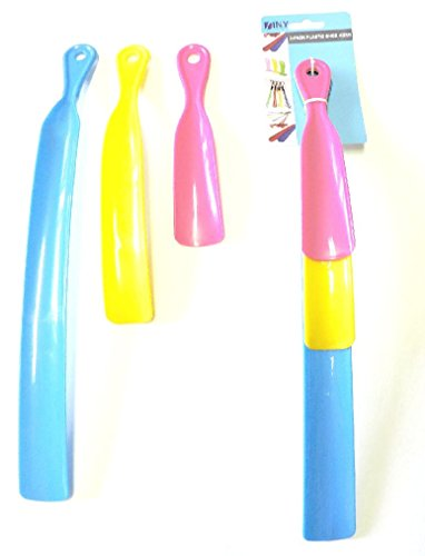 3 Pack Colored Plastic Shoe Horn Value Pack Assorted Sizes Shoe Accesories NEW