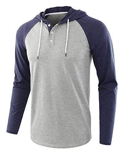 - ONTTNO Men's Casual Long Sleeve Henley Sweatshirt Knit Fleece Hoodie Pullover (Large, C.Blue/Gray)