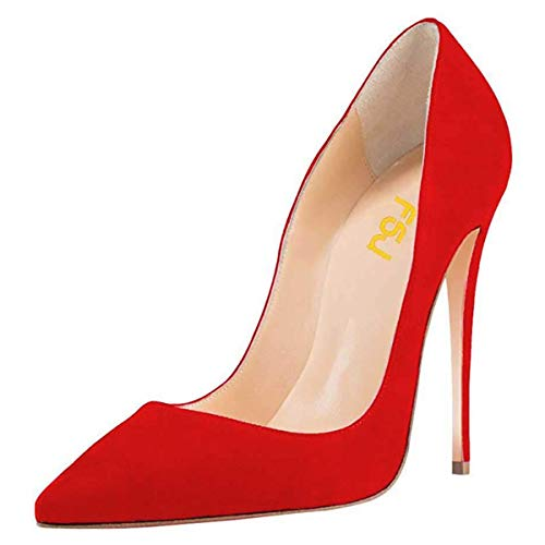 FSJ Women Sexy Suede Pointed Toe Pumps 12 cm High Heels Stilettos Prom Shoes Size 12 Red -