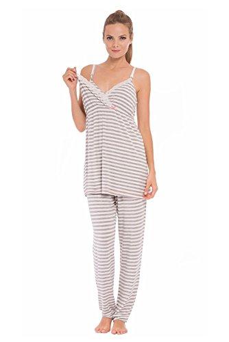 Olian ''Anne'' Nursing Stripe Cami/Pajama Set with Baby Gown, Grey Stripes, Large by Olian (Image #1)