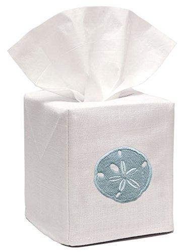 - Jacaranda Living Linen/Cotton Tissue Box Cover, Sand Dollar, Aqua