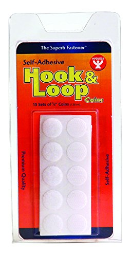Price comparison product image Hygloss Hook and Loop Fastener Coins,  Self-Adhesive,  White,  5 / 8-Inch,  15 Sets