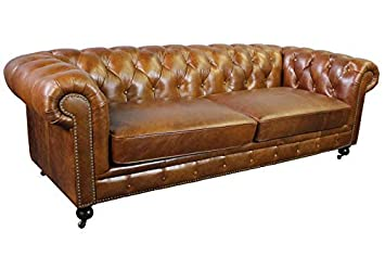 Amazon.com: Larson Top Grain Vintage Leather Chesterfield ...