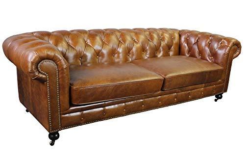 (Larson Top Grain Vintage Leather Chesterfield Sofa - Light Brown)