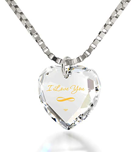 """Nano Jewelry Infinity I Love You Necklace 24k Gold Inscribed on a Tiny Heart Pendant Crystal, 18"""" 925 Sterling Silver"""
