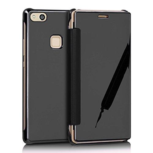 Funda Huawei P10 Lite,Surakey Huawei P10 Lite Clear View Cover - Funda para Huawei P10 Lite,Translucent Window View Flip Wallet Cover,Plating Make Up Mirror espejo, Case For Huawei P10 Lite, Caja del  Negro Mirror