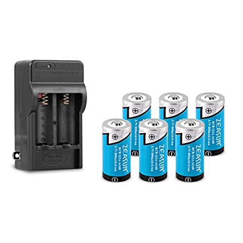 16340/CR123A Battery Charger with 6-Pack Zeasun 16340 800 mAh 3.7V Rechargeable Lithium Battery - 700mah Nicd Two Way Radio