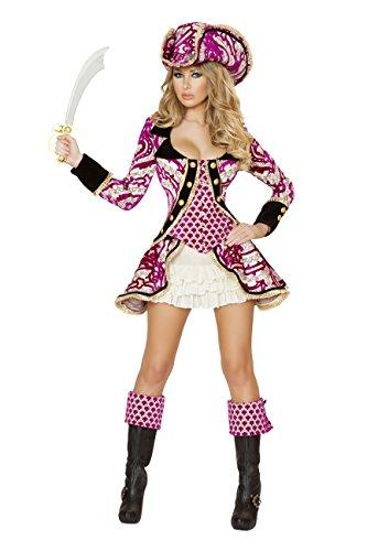 Seductive Pirate Captain Adult Costumes (Sexy Women's 4pc Seductive Pirate Captain Buccaneer Costume (S))