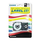 Casio® Tape Cassette for KL Label Makers TAPE,24MM,KL8000,BK ON WE (Pack of5)