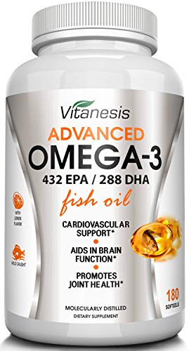 Omega 3 Fish Oil Supplement - Triple Strength EPA 432 milligrams - DHA 288 milligrams - Burpless with Lemon Flavor - Easy To Swallow - no Mercury - Top Joint, Heart and Brain Health Formula