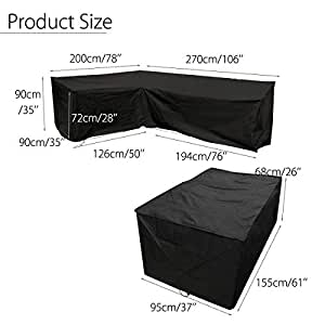 Black L Shaped Sofa Cover (78''x106'') & Table Cover (61''x37''x26'') for Outdoor Patio Waterproof & Dustproof Furniture Protection (2 Pcs Set)