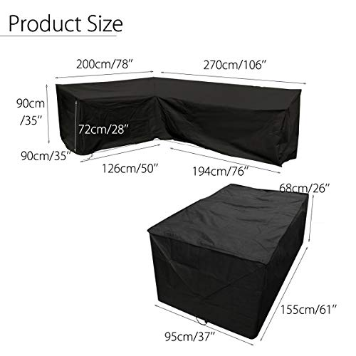 dDanke Black L Shaped Sofa Dust Cover (78''x106'') & Table Cover (61''x37''x26'') for Outdoor Patio Waterproof & Dustproof Furniture Protection (2 Pcs Set)